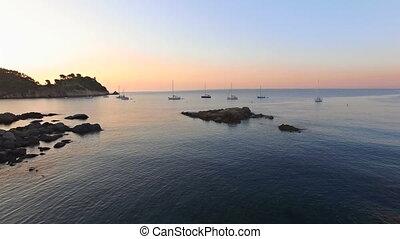 Unspoiled Mediterranean Seaside Beach Aerial Drone at...