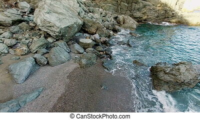 Unspoiled Virgin Mediterranean Black Beach Aerial Shoot -...