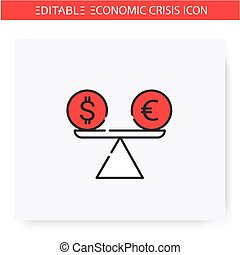Unstable exchange rate line icon. Liquidity crisis. Stock market crash. Economical crisis and depression, global financial and economic downturn. Isolated vector illustration. Editable stroke