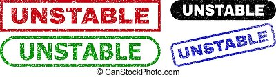 UNSTABLE grunge seal stamps. Flat vector textured seal stamps with UNSTABLE title inside different rectangle and rounded shapes, in blue, red, green, black color versions.