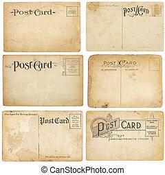 unstamped, vindima, poste, seis, cartões