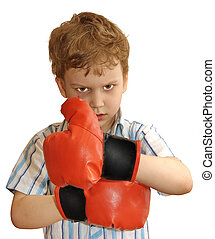 unstoppable determination - A young boxer with bruises in...