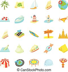 Unstoppable fun icons set. Cartoon set of 25 unstoppable fun vector icons for web isolated on white background