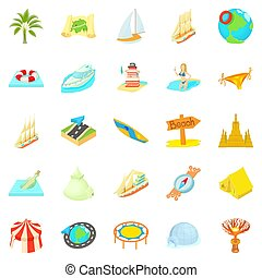 Unstoppable fun icons set. Cartoon set of 25 unstoppable fun icons for web isolated on white background