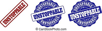 UNSTOPPABLE grunge stamp seals in red and blue colors. Vector UNSTOPPABLE imprints with grunge effect. Graphic elements are rounded rectangles, rosettes, circles and text tags.