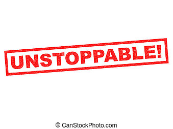 UNSTOPPABLE red Rubber Stamp over a white background.