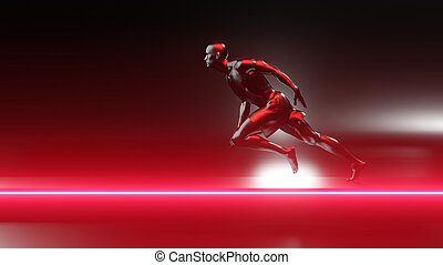 3D Illustration of a unstoppable runner on the track.