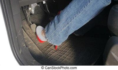 unsuatable, pédales, femme, lent, chaussures, conduite, ...