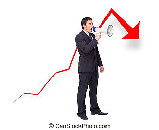 Unsuccessful young businessman using a megaphone