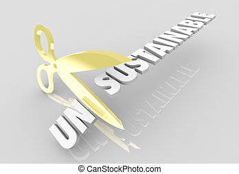 Unsustainable Scissors Cutting Word Sustainability 3d Illustration