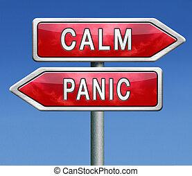 unten, panik, gelassen, dont