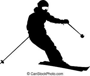 unten, silhouette, vektor, skier, sport, ...