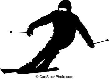 unten, vektor, skier, sport, geschwindigkeitsüberschreitung...