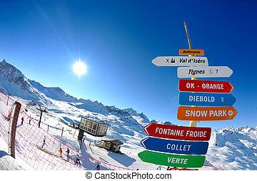 unter, brett, schnee, hoch, zeichen, winter, berge