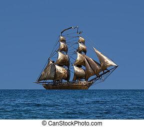 unter, -, schwarz, segeln, russische, segel, zweimaster, ...
