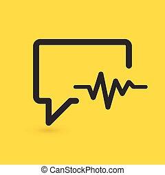 unterhaltung, hintergrund., vektor, medizinprodukt, kardiogramm, verwandt, icon., freigestellt, gelber , sprechen, abbildung, blase