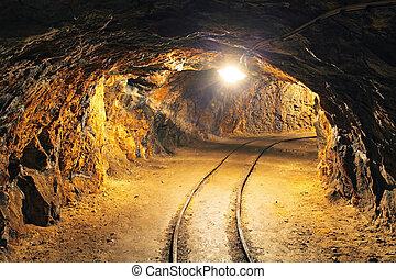 unterirdischer tunnel, bergbau, industriebereiche, bergwerk
