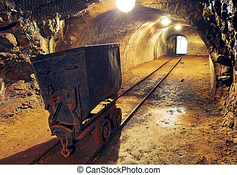 unterirdischer tunnel, eisenbahn, bergwerk, gold
