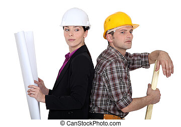 unternehmer, frau, woodworker