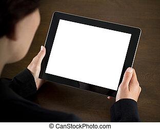 unternehmerin, besitz, leer, tablette pc