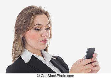 unternehmerin, gebrauchend, mobilfunk