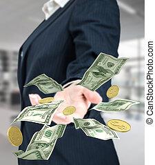 unternehmerin, in, kappe, werfen, dollar.