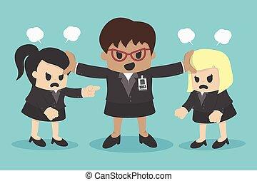 unternehmerin, konflikt, oder, streitende , mitarbeiter, in,...