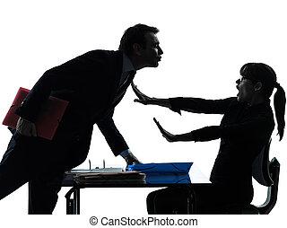 unternehmerin, mann, paar, sexuelle belästigung, silhouette