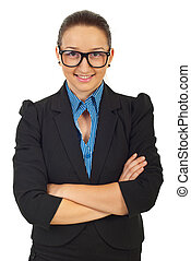 unternehmerin, mit, brille