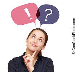 unternehmerin, mit, bunte, fragezeichen, und, ausruf, in,...