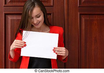 unternehmerin, mit, der, weißes, blatt papier
