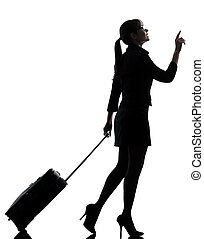 unternehmerin, reisen, gehen, silhouette