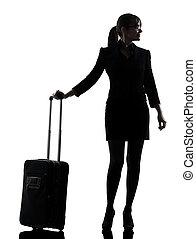 unternehmerin, reisen, stehende , silhouette
