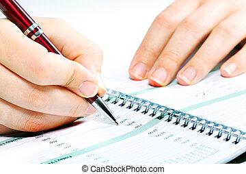 unternehmerin, schreibende, in, agenda.