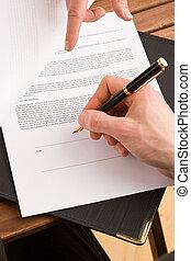 unternehmerin, unterzeichnung, a, vertrag