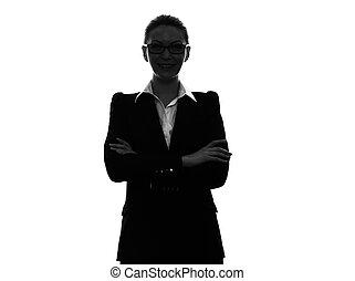unternehmerin, verschränkte arme, porträt, silhouette