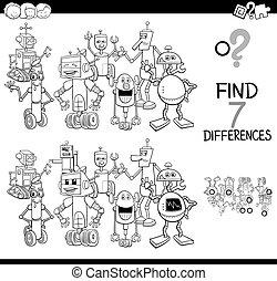 unterschiede, spiel, mit, roboter, charaktere, farbe, buch