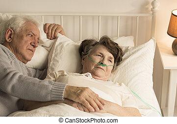unterstützen, mann, senioren, sterben, ehefrau