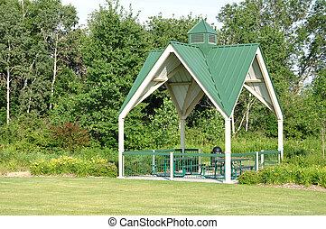 unterstand, picknick, park