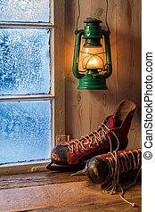 unterstand, warm, abend, kalte , winter
