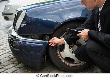 untersuchen, auto, schaden, experte, versicherung