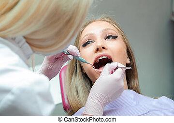 untersuchen, buero, dental, klinik, zahnarzt, weibliche , z�hne, kontrolle