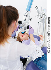 untersuchen, m�dchen, frau, mikroskop
