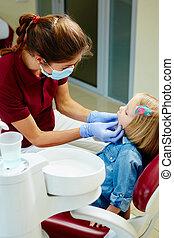 untersuchen, wenig, zahnärzte, mädels, zahnarzt, pädiatrisch, z�hne, stuhl
