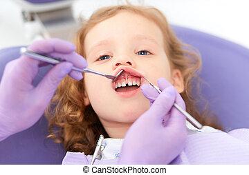 untersuchen, zahnarzt, lippe, unter