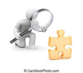 untersucht, vergrößern, person, puzzel, glas, 3d