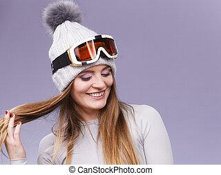 unterwäsche, frau, ski, thermal, googles