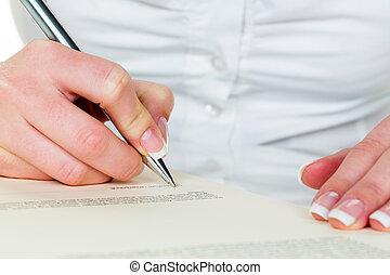 unterzeichnung, füllhalter, vertrag, hand