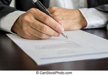 unterzeichnung, fortsetzen, form., arbeit, sucher, geschäftsmann, oder
