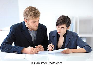 unterzeichnung, geschäftsvertrag, leute